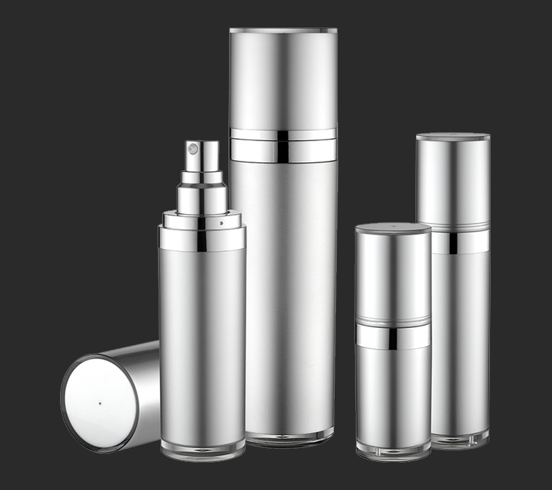 Popular design  acrylic beautiful double wall tapered series plastic cosmetic lotion bottle