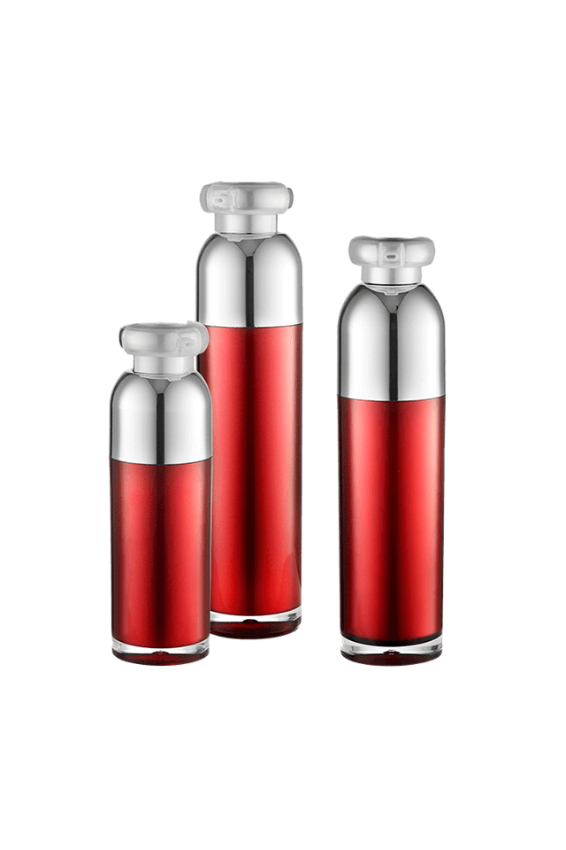 luxury red cosmetic airless bottle for cosmetic packaging