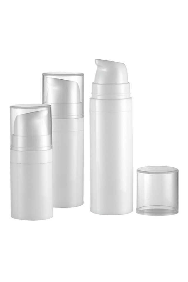 High level round airless bottle white airless bottle 5ml 10ml 15ml airless bottle