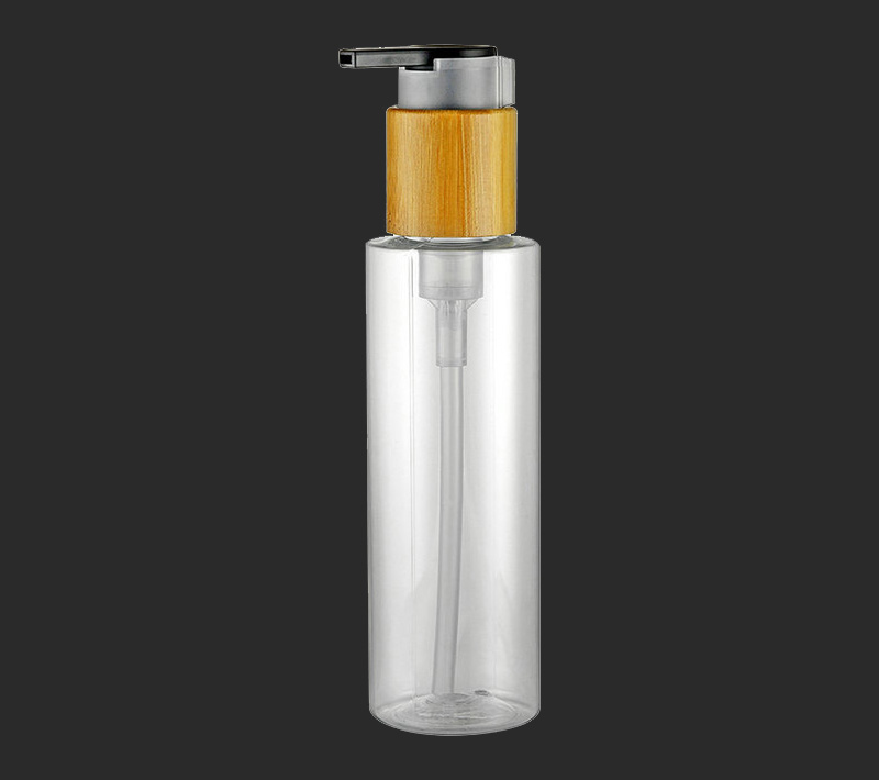Clear cosmetic packaging PET plastic round bottle