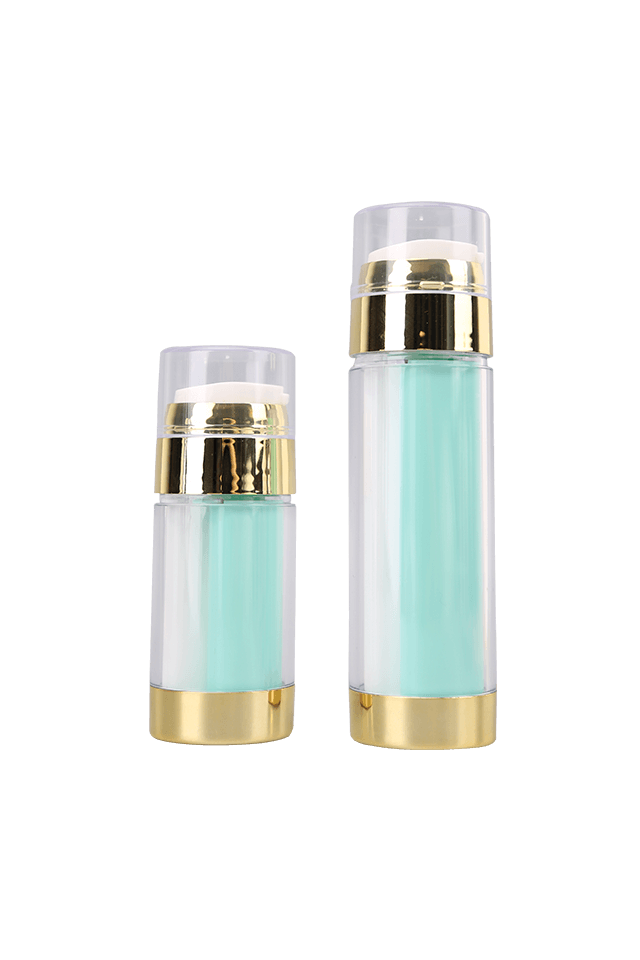 Double Tubes Luxury Plastic Lotion Bottle Unique Double Tube Lotion Bottle For Cosmetic